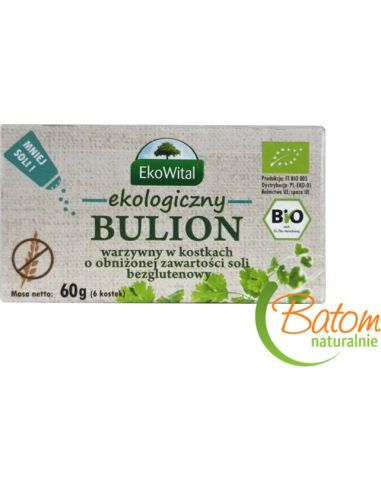 Kostki rosołowe / bulion warzywny o obniżonej zawartości soli bezglutenowy 6 sztuk*EKOWITAL*BIO