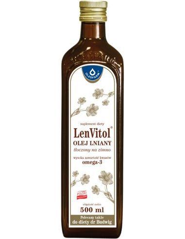 Olej lniany **Lenvitol** 500ml*OLEOFARM*
