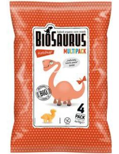 Chrupki kukurydziane bezglutenowe z ketchupem 4 x 15g*BIOSAURUS*BIO