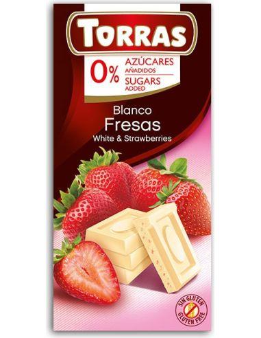 Czekolada biała z truskawkami 75g*TORRAS*