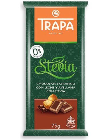 Czekolada mleczna / orzechy laskowe słodzona stewią 75g*TRAPA*